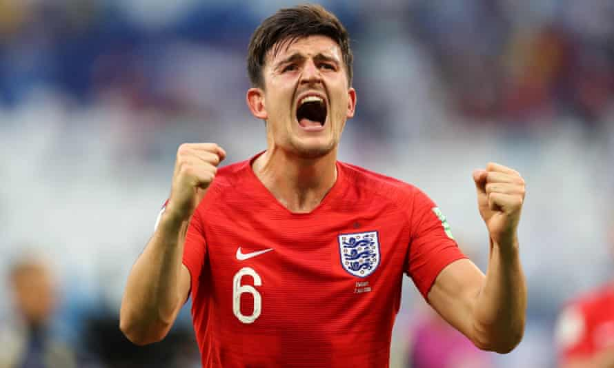 Harry Maguire celebrates England knocking out Sweden in the quarter-finals of the World Cup.