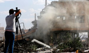 The wreckage of a building said to be part of the Scientific Studies and Research Centre in Barzeh, north of Damascus.
