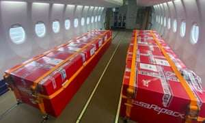Boxes containing 30,000 doses of the Sputnik Light vaccine at Zhukovsky airport in Russia before being sent as humanitarian aid to Laos.