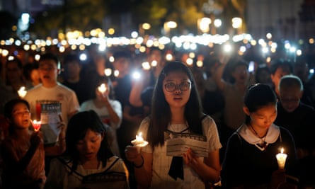 A candlelight vigil on the anniversary of the Tiananmen Square massacre