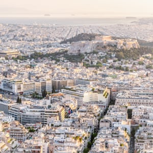 Bird's eye view of  the Acropolisand Athens