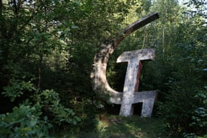 A huge hammer and sickle in a forest near the village some 200 km from Minsk, Belarus