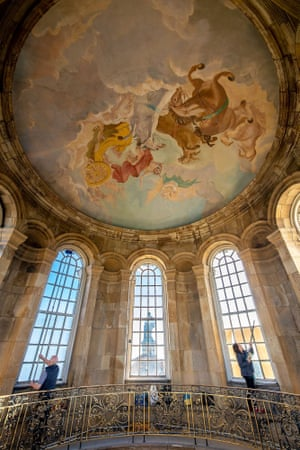 York, Yorkshire. The cleaning team at work in the dome of the great hall at Castle Howard, in preparation for the stately home's opening in March