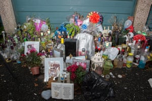 A makeshift shrine in memory of 24-year-old Dwaine Haughton, who was killed in Wolverhampton in 2018