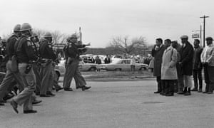 Spider Martin's famous photo of protestors facing police in Selma before they were beaten, which is featured in the documentary I Am Not Your Negro