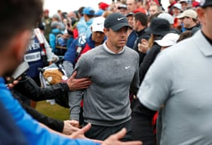 Rory walks to the 17th.
