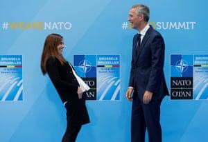 Katrín Jakobsdóttir, Iceland's prime minister, greets Nato's Jens Stoltenberg