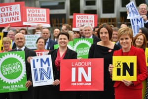 Ruth Davidson, centre, with the Scottish Green party's Patrick Harvie, Scottish Labour leader Kezia Dugdale and First Minister Nicola Sturgeon during the EU referendum campaign in Edinburgh