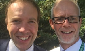 Matt Hancock with Steve Dunn, chief executive of West Suffolk hospital