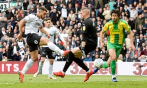 Derby County's Mason Bennett scores their second goal.