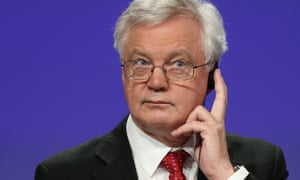 David Davis during a joint press conference with chief Brexit negotiator Michel Barnier.