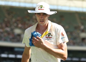 Pat Cummins bowled in oppressively hot conditions at Adelaide Oval.