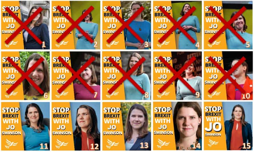 The Lib Dems' 15 different Jo Swinson Facebook ads, showing 10 versions eliminated according to online feedback
