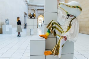 One of Anthea Hamilton's strange figures lounging in the Duveen Galleries at Tate Britain.