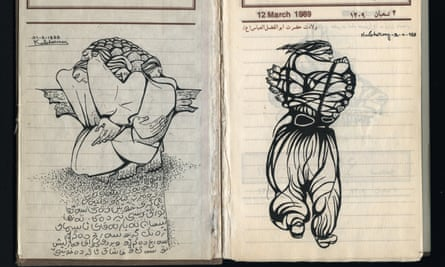 A double page spread notebook showing black line drawings