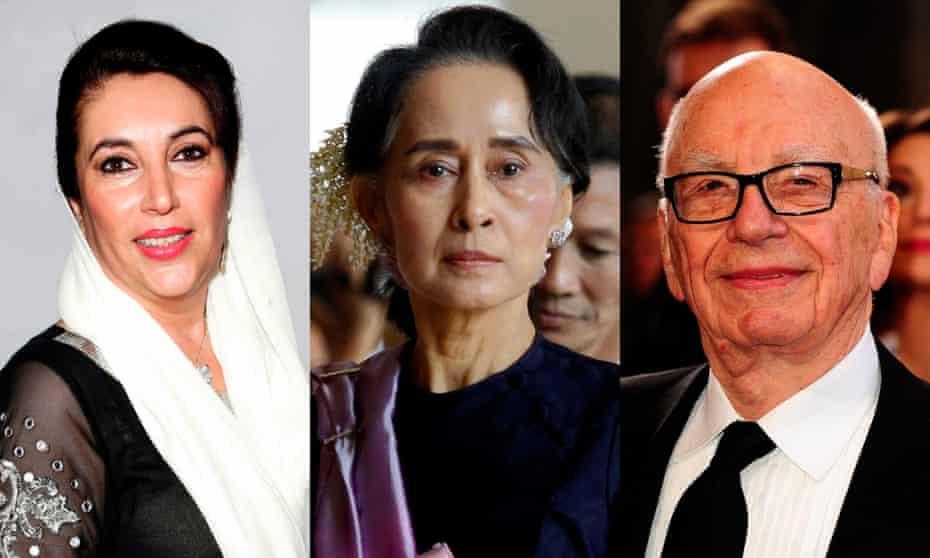 Benazir Bhutto, Aung San Suu yi and Rupert Murdoch