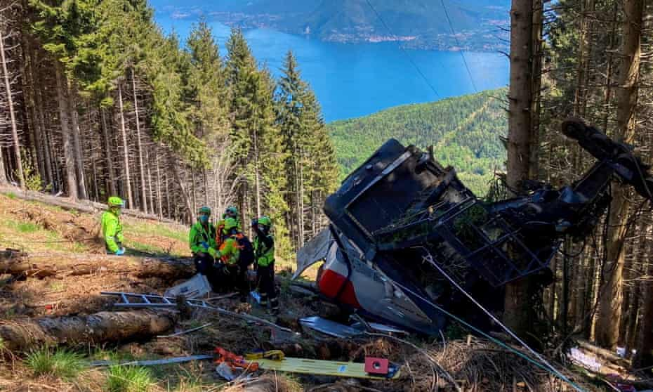The crashed cable car after it collapsed in Stresa, near Lake Maggiore, in Italy in May.