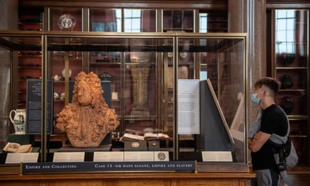A bust of Hans Sloane sits in a new cabinet explaining his links to slavery