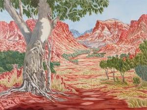 Hubert Pareroultja's landscape painting Tjoritja