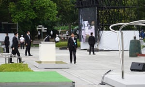 Abe at a ceremony on Thursday marking 75 years since the Hiroshima bombing