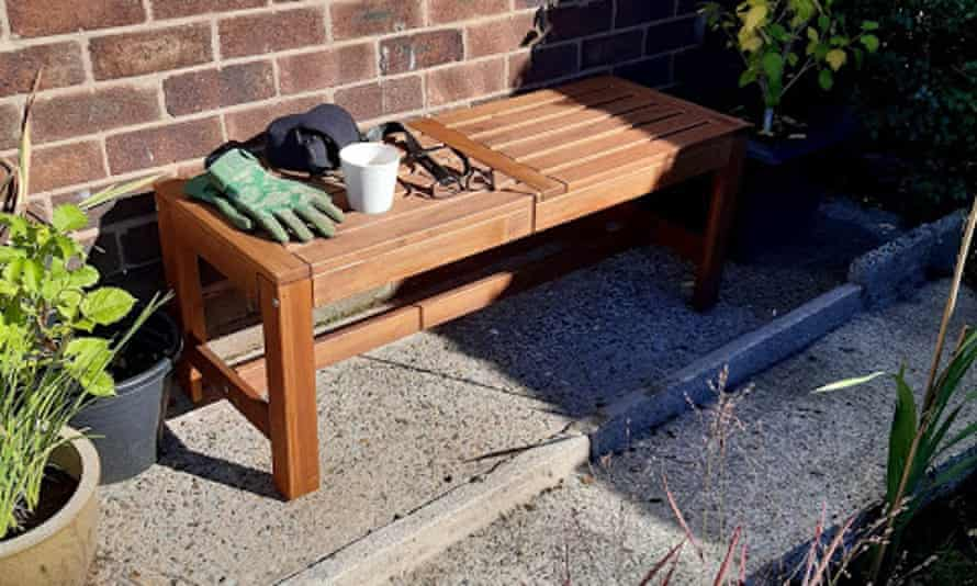 Jean Ward's garden bench in the sunshine