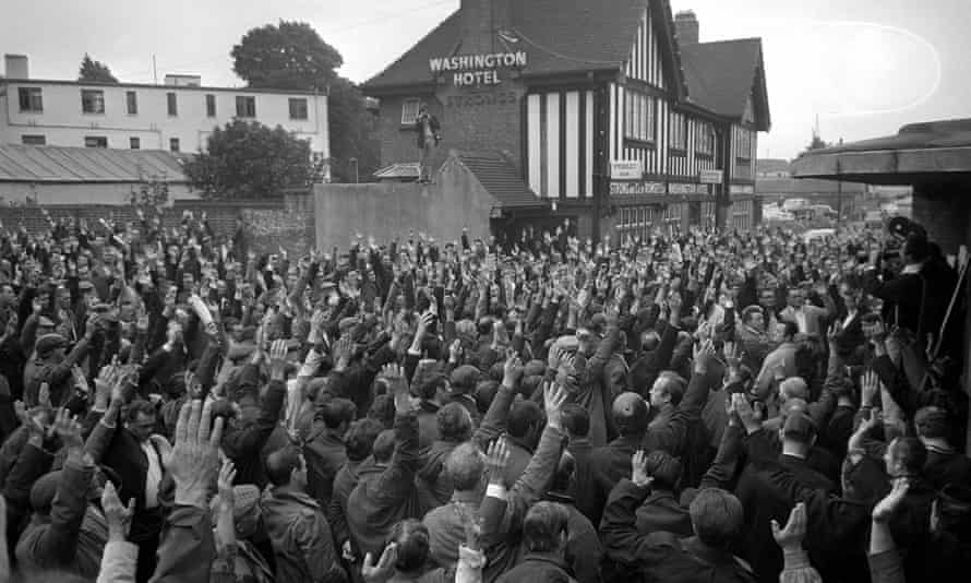 Southampton dockers vote no to moving perishable cargos with a show of hands during the national dockers strike over pay, 27 July 1970.