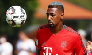 Jérôme Boateng in training with Bayern Munich before the Super Cup game against Eintracht Frankfurt on Sunday.