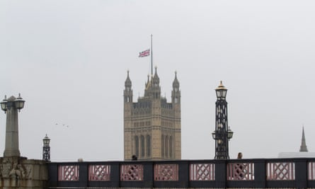 The union jack flies at half mast above the Houses of Parliament in Westminster, London, on Thursday.