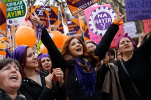 Ankara, TurkeyWomen shout slogans and hold placards against the upcoming referendum