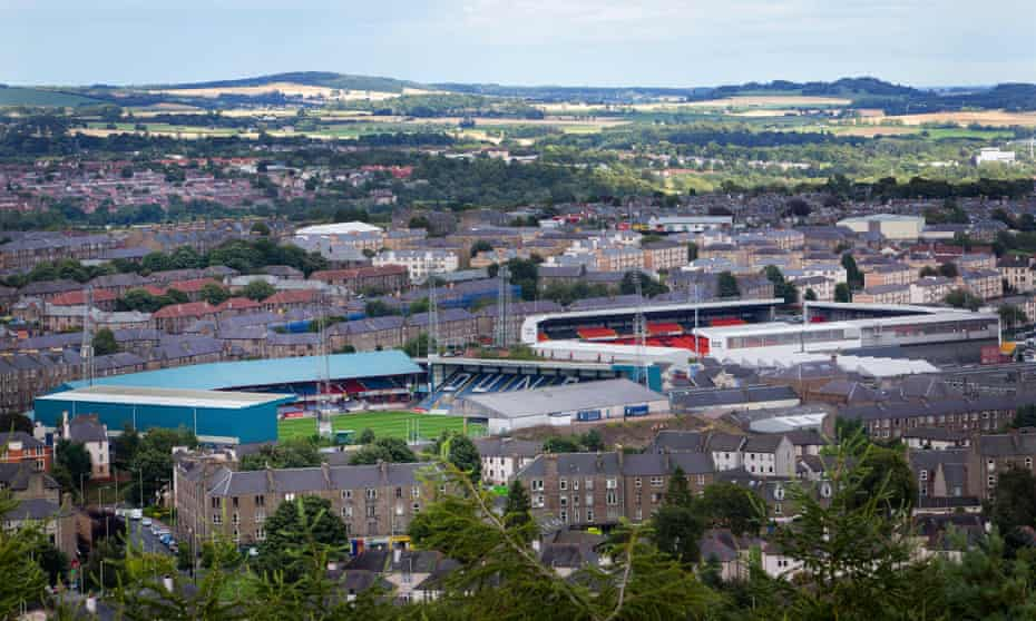 A view of Dens Park and Tannadice Park in Dundee.