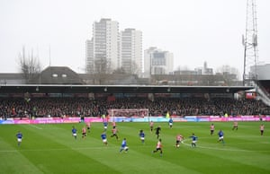 A wide view inside at Griffin Park where Brentford hosted Leicester City. The Premier League side won 1-0 thanks to Kelechi Iheanacho's fourth minute goal which was notable for Dennis Praet's superb through ball in the build-up.