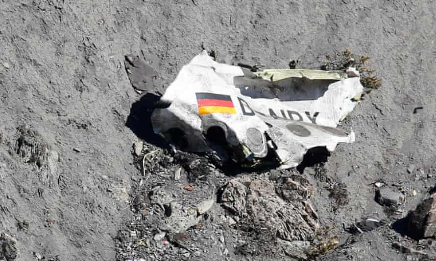 A piece of the fuselage of the Germanwings Airbus A320 that crashed in the French Alps.