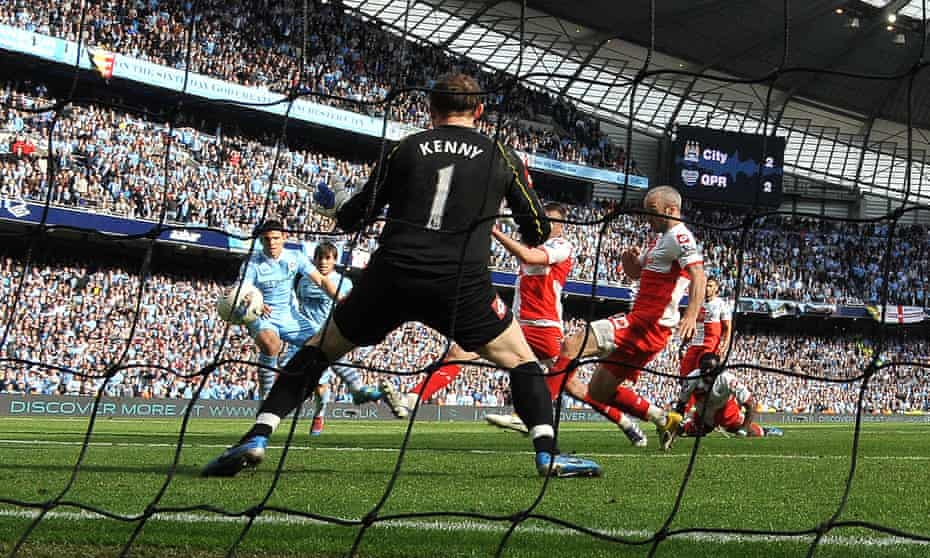 Sergio Agüero scores his famous title-winning goal against QPR in 2012.