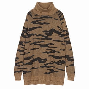 brown black camouflage pattern jumper Hush Uk