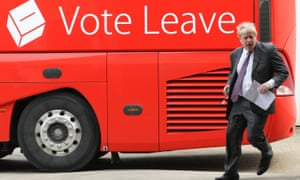 Johnson in Christchurch, Dorset with the Vote Leave bus.