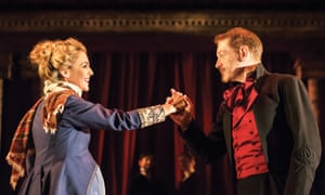 Miranda Raison as Hermione, 'blazing and cool simultaneously', with Kenneth Branagh 'embracing the chaos' as Leontes, in The Winter's Tale.