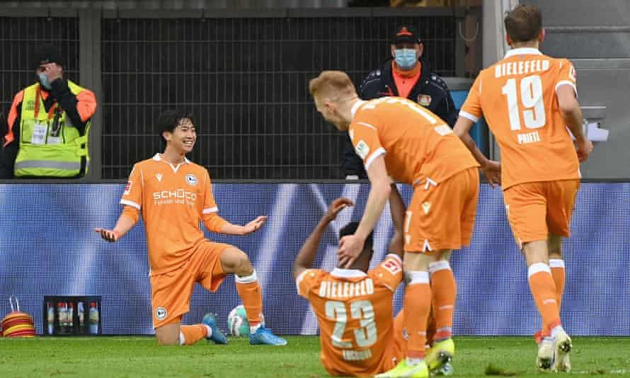 Masaya Okugawa celebrates after scoring Arminia Bielefeld's second goal.