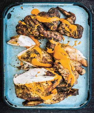 'There is a primal pleasure in live fire cooking': whole barbecued chicken.