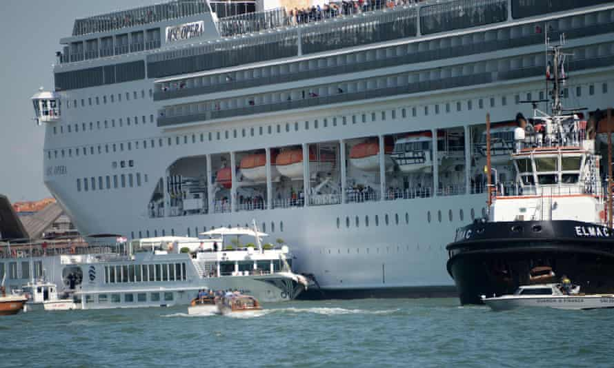 The cruise ship MSC Opera is seen after the collision with a tourist boat.