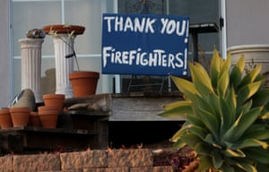 Wildfires in California, USA - 14 Dec 2017Mandatory Credit: Photo by Rob Varela/SB News-Press via ZUMA Wire/REX/Shutterstock (9293793a) A sign thanking firefighters sits in the front yard of a house on Foothill Road at Hillmont Street Thursday. Several houses were destroyed by the Thomas Fire in the hillsides nearby. Wildfires in California, USA - 14 Dec 2017