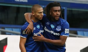 Richarlison (left) celebrates with Alex Iwobi after scoring Everton's equaliser.