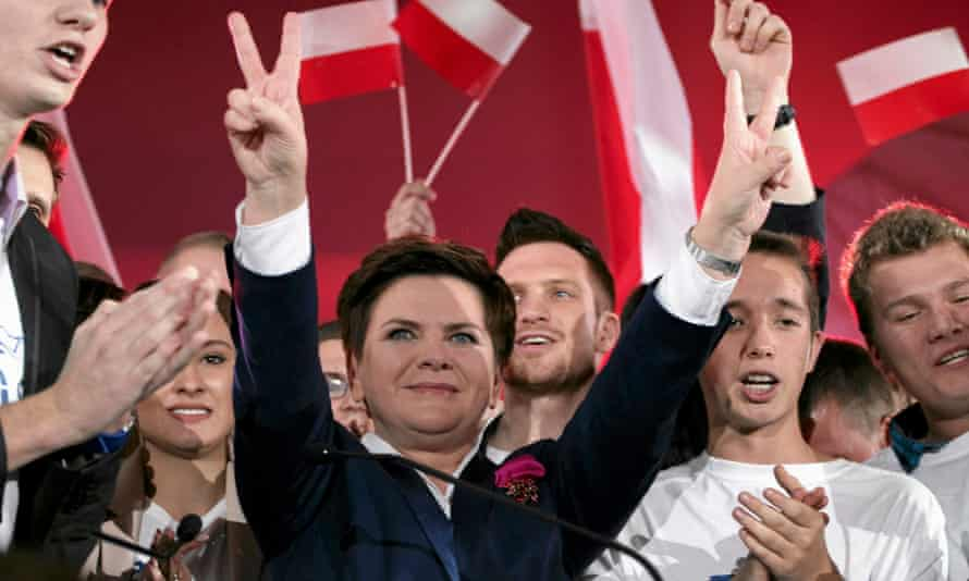 Beata Szydło, the Law and Justice candidate for prime minister in the parliamentary election, in high spirits at a party convention.