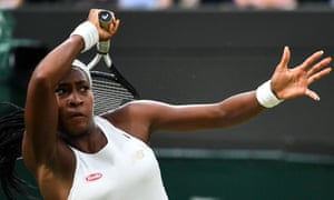 Cori Gauff is a study in concentration on her way to beating Magdalena Rybarikova at Wimbledon