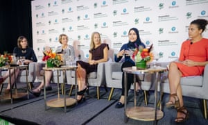 """We can't solve any of the SDGs unless we are educating girls,"" argues Alaa Murabit, second from right, with (l to r) Liz Ford, Liesbet Steer, Wendy Kopp and Teodora Berkova."