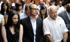 Oscar Pistorious's sister Aimee, brother Carl and father Henke during his original trial.