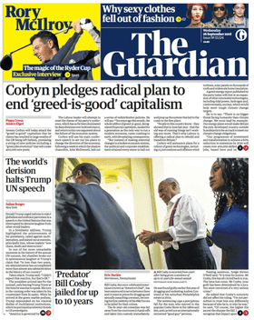 Guardian front page 26/9/18