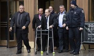 Harvey Weinstein leaves court in New York on 11 December.
