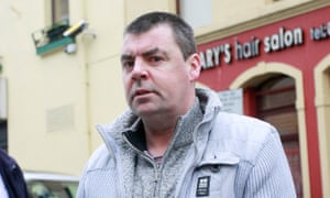 Seamus Daly arrives at Omagh court in County Tyrone