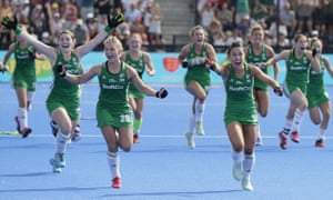 Ireland celebrate after clinching their place in the final of the Hockey World Cup.