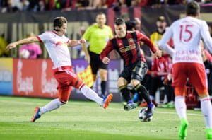 Atlanta United defender Greg Garza attempts to bamboozle a NY Red Bulls player during United's inaugural MLS game.